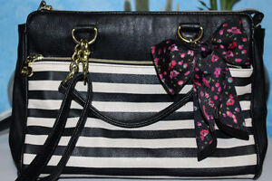 Betsey Johnson Striped Cross-Body Bag with Floral/Gold Detailing