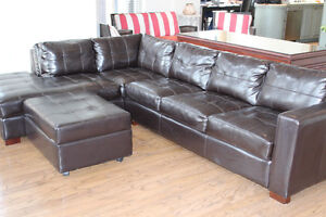 Brown bonded leather sectional / sectionel cuir reconstitué