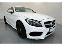 2016 WHITE MERCEDES C220D 2.1 AMG LINE 2DR AUTO COUPE CAR FINANCE FR £305 PCM