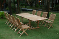 Teak extended table and side chairs for sale