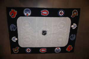 Kids NHL Hockey Rink Area Rug with all Canadian Teams On It