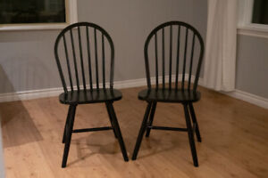 Two Black Kitchen Chairs