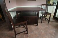 Solid Wood Cafe Style Dining Table with 4 Chairs