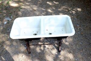 Vintage Cast Iron Enemel Double Sink, with stand.