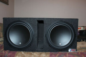 "Two 12"" JL Audio 12W3v3-4 subs w/ ported box"