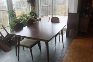 Solid walnut table, chairs and cabinet with glass sliders