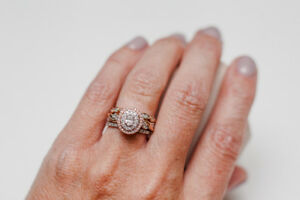 Unique Rose Gold Diamond Engagement Ring - Like NEW - w/ bands