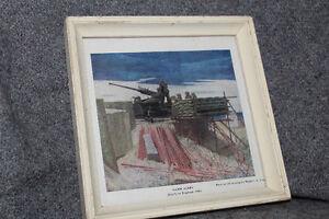 "Vintage Framed Military Lithograph - Titled ""Dawn Alert"""