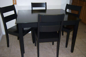 Black Dining Table with 4 Chairs