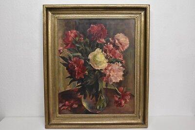 n2x16- Blumenstrauß in Glasvase, Ölgemälde sign. Arthur Schellenberger (1888-195