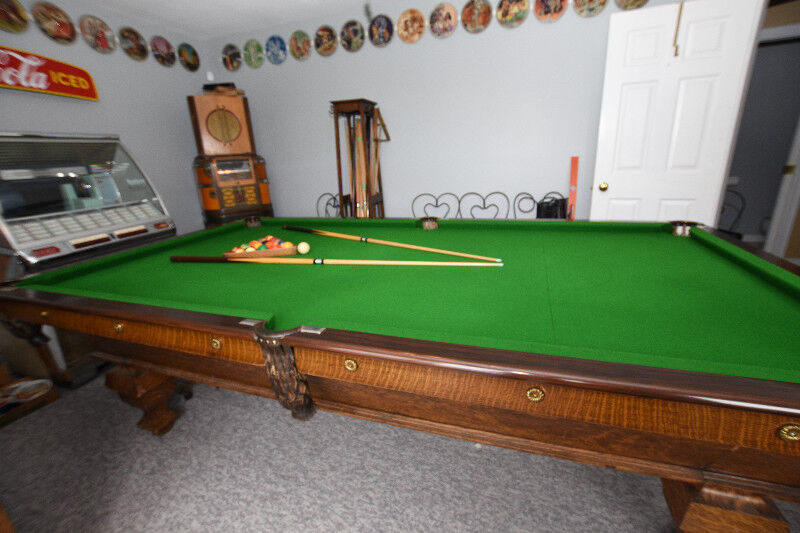X Antique Brunswick Slate Pool Table Toys Games Burnaby - 9 slate pool table