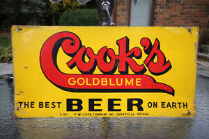 1930 COOK'S GOLDBLUME DOUBLE SIDED TIN BEER SIGN