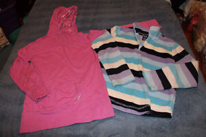 girls Size 8 pink hoodie shirt and Gap sweater $4