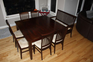 54 X 54 Table with 6 chairs and bench