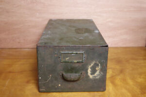 Antique Metal Green Cubbie Drawer File