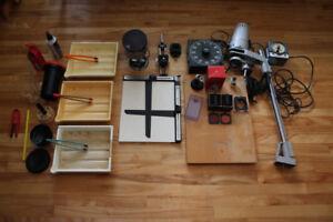 Agrandisseur photo et équipement complet de chambre noire