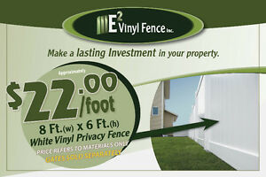 8x6 White Vinyl Privacy Fence - E2 Vinyl Fence Inc.