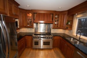 Cherry Wood Kitchen Cabinets and Granite Counter Tops
