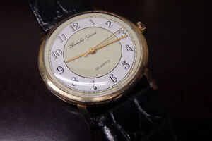 Mens solid 14k gold swiss watch