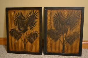 2 Carved Wood Decorative Wall Panels from Bouclair Peterborough Peterborough Area image 1