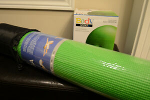 Brand New Unopen Yoga Mat and Fitness Ball