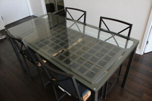 Tempered Glass Dining Table + 4 Chairs + Cushions