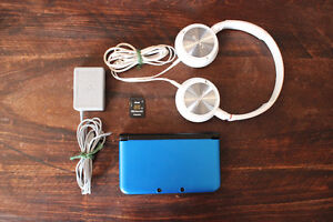 Blue 3DS XL Bundle w/ Headphones, Charger, and Downloaded MH4U