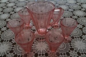 Pink Peach Jeannette Depression Glass Pitcher and Glasses 1930s