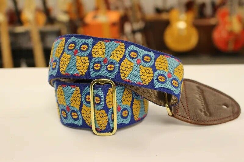 Souldier Guitar Strap Owls Blue/Gold w/ brown leather ends *
