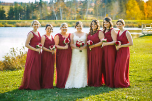 6 burgendy bridesmaid dresses