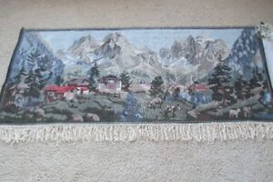 """Vintage Moutain Scene Tapestry 30""""x61"""" with Hooks Exc. Cond."""