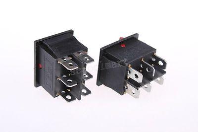 5 Pcs Red Light Lamp On-on Dpdt Boat Rocker Switch 6 Pin 16a250v 20a125v Ac