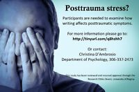 Posttrauma stress? Participate in writing treatment research