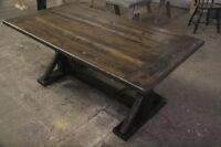 Reclaimed, rustic harvest table