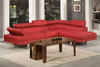 NEW Red Linen Adjustable Sectional Sofa! Same Day Delivery!