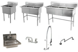 Stainless steel sink, Hand sink, Faucet, Grease trap on Sale