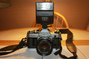 Canon AE1 35mm Film Camera with 50mm Lens and Flash