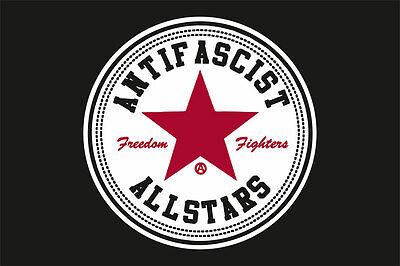 Flagge schwarz Motiv Antifascist Allstars Freedom Fighters 100x150 cm
