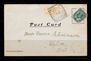 "Stamp - Canada #89 On Postcard ""THAMESFORD"" Squared Circle"