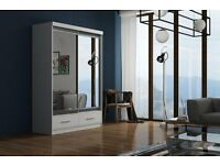 **DELIVER SAME DAY GUARANTEE!*203 CM*WHITE MARGO MIRROR Sliding Door Wardrobe -SAME DAY DELIVERY!