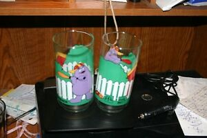 2 GRIMACE MCDONALD'S COKE GLASSES/DISHES/COLLECTIBLES