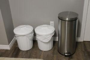 Satinless steel garbage cans