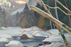 LISTED ARTIST TOM HALL OIL ON BOARD WINTER PAINTING EXCELLENT Gatineau Ottawa / Gatineau Area image 8