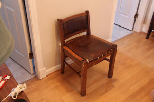 Vintage Oak Chair with Black leather seat and back