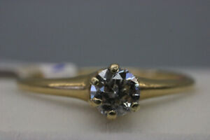 14K Yellow Gold Ladys Solitaire Engagement Ring Size 8 (#1281)
