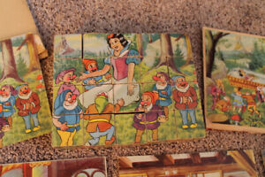 Collection of Vintage Wooden Block Puzzles