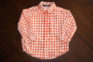 Children's Place Long Sleeve Orange Plaid Button Up Shirt- 3T