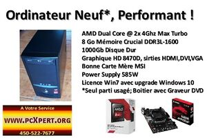 Ordinateur NEUF Dual Core 2x4Ghz,8 Go, 1Tb, Windows 10