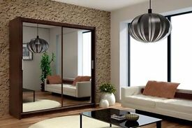 *7-DAYS MONEY BACK GUARANTEE* BERLIN 2 or 3 DOORS SLIDING MIRROR WARDROBE IN MANY SIZES AND COLORS