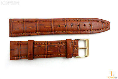 20mm Genuine Honey Leather Padded Stitched Watch Band Strap Gold Tone Buckle